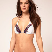 Pieces Feather Print String Bikini Brief at asos.com