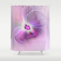 Abstract Flower With Pink And Purple Fractal Shower Curtain by Gabiw Art