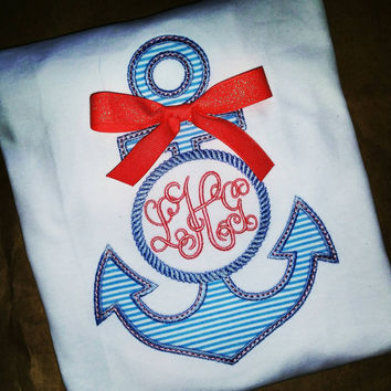 Girls monogram applique anchor - boutique Ruffle shirt - summer boutique clothing - free monogram - seersucker anchor applique with bow