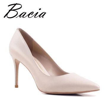 Bacia New Sheep skin High Heels Women Genuine Natural Leather Pumps Fashion Elegant Wedding Pink Red Shoes Handmade shoes VB039