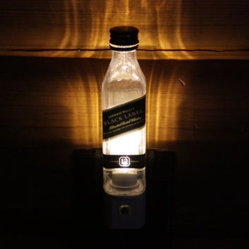 Upcycled Mini Johnny Walker Black Label Bottle Night Light, LED Night Light, Upcycled Liquor Bottle