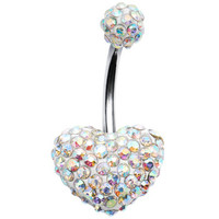 Aurora Romance Heart Austrian Crystal Evolution Belly Ring | Body Candy Body Jewelry