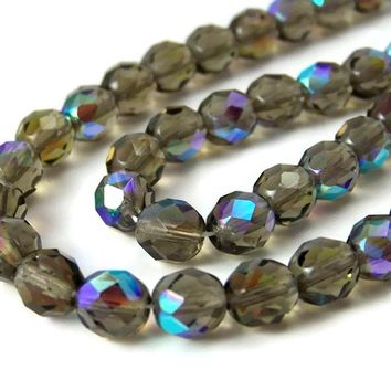 Czech Glass beads, 8mm faceted round, Smoke Grey Aurora Borealis, Full Strand (164F)