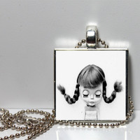 Black and White Blythe inspired Square Tile Pendant Necklace SALE