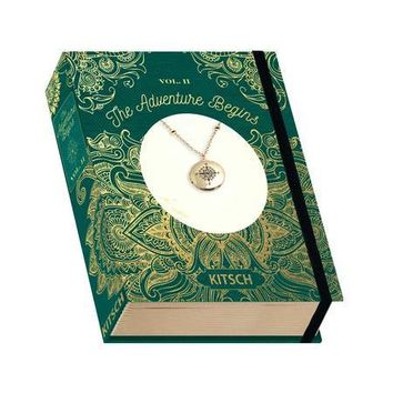 Locket Necklace Vintage Book Box - The Adventure Begins - Compass Charm