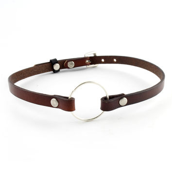 Vintage Brown Leather Charm Choker