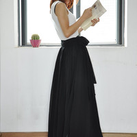 Black Maxi Skirt Chiffon Silk Skirts Beautiful Bow Tie High Waist Summer Skirt Floor Length Long Skirt (037)
