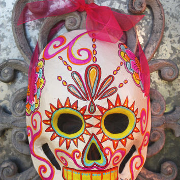 Dia De Los Muertos Mask: Hand Painted Paper Mache Celebration Sugar Skull Mask - Mexican Folk Art