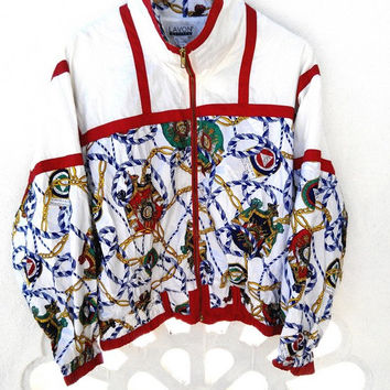 Vintage 80's LAVON Medusa Style Baroque Royalty Floral Swag Gold Chain Nautica Hip Hop Bomber Jacket