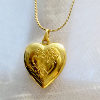 "Gold Tone Engraved Heart Locket, 20"" inch New 14k GF Chain, Engraved, Double Heart & Floral Design, Estate Jewelry"