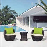 Vase Chair Coffee Table Home Furniture Stackable Garden Rattan Set Patio Brown