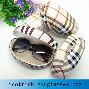 Hot sale fashion hard big sunglasses box for women suglasses case plaid leather high quality glass box