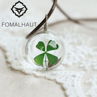 Hot FOMALHAUT Crystal glass Ball Clover Necklace Long Strip Leather Chain Dried flowers Pendant Necklaces Women 2016 Jewelry