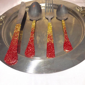 Decorated Silverware, Holiday Table Decor, Ombre Glitter Table Setting, Holiday Wedding, Engagement Party Decorations, Holiday Gift Set, Red