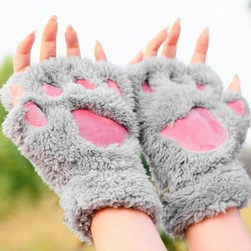 1 Pair Adorable Fluffy Cat Paw Fingerless Plush Gloves/Mittens 6 Colors