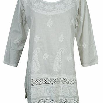 Mogul Womens Indian White Tunic Cotton Floral Embroidered Boho Shirt Top Blouse