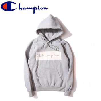 Tide brand Champion couple sets the first set of sweaters velvet hoods small Sweater box logo printing Gray