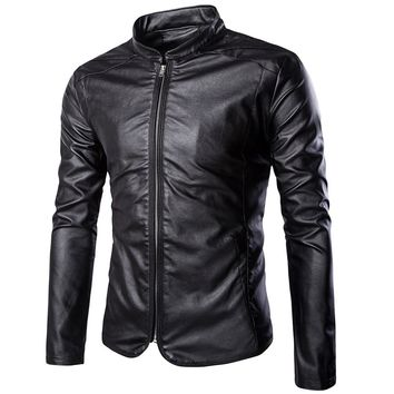 New Leather Jacket Men 2018 Fashion Casual Slim Fit Zipper Motorcycle Punk Classical Biker Jacket Casual Solid PU Male Coat