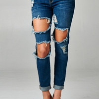 Ripped 5-Pocket Skinny Jeans