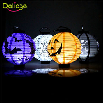 2016 New Halloween Decoration Pumpkin Light Hanging Paper Lantern Lamp Outdoor Party Supplies Bat Skull Spider Pumpkin Lantern