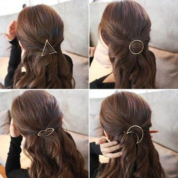 ICIKFV3 Hot Sales New Style Women's Simple Elegant Metal Geometric Round Triangle Moon Hairpin Hair Clip