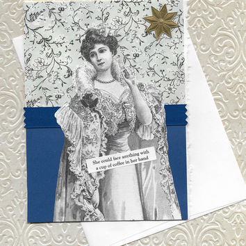 Coffee Theme Encouragement Get Well Card for Her- Victorian Woman - It's The Caffeine That Does It