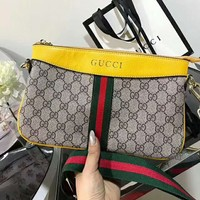 Gucci Women Leather Shoulder Bag Crossbody Lightweight carrying Bag Satchel B-AGG-CZDL Yellow