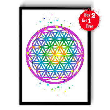 Flower Of Life Watercolor Art Print, Cotton Canvas, Textured photo matt print, Yoga Studio decor, Mandala Yoga poster