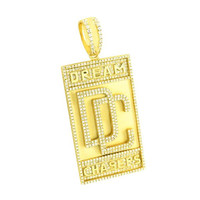 Dream Chasers Pendant Simulated Diamonds Iced Out Gold Rhodium Plated Brand New