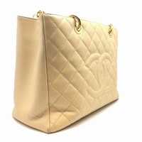 Auth Chanel Quilted Caviar Leather GST GHW Chain Shoulder Bag Nude