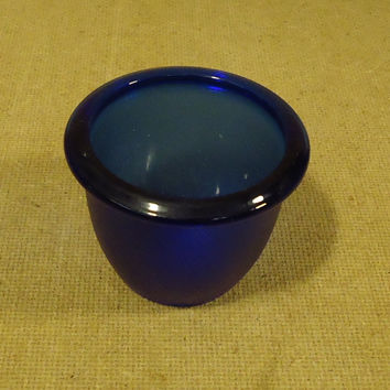 Handcrafted Candle Holder 4in x 4in x 3in Blue Glass -- Used