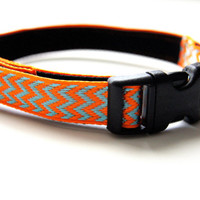 Orange Chevron Dog Collar Adjustable Sizes (XS, S, M)