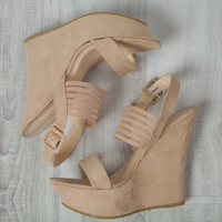 Suede Nude Wedge