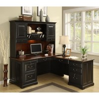 Riverside Bridgeport L-Shaped Computer Desk with Optional Hutch | www.hayneedle.com