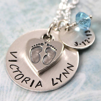 Mother's Day Gift, Personalized Necklace for New Mom, Birthstone Necklace, Mommy Necklace, Sterling Silver Jewelry, Footprints Necklace