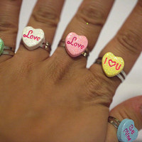 Kawaii Cute Valentines Heart Candy Ring in 6 Different Designs