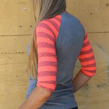 Baseball T shirt in Neon orange or coral Heather stripe with Heather light Grey Knit Raglan Sleeve Shirt From GreenStyle