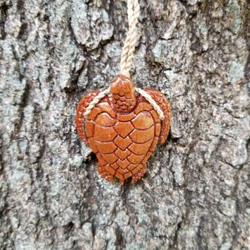 Koa Wood Maori Sea Turtle Necklace