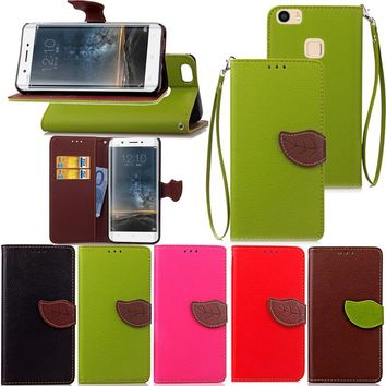 For Vivo Xplay 5 Luxury Leather Cover Flip Wallet Phone Case For Vivo X play 5 With Leaves Buckle And Lanyard Mobile Phone Shell