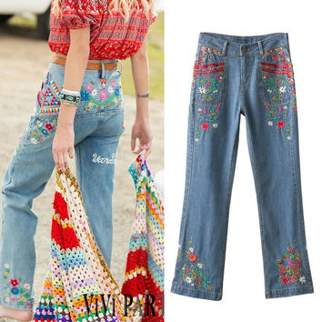 Autumn Heavy Work Embroidery Boot Cut Pants Jeans [6332328580]