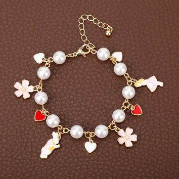 Movie Anime Jewelry Alice In Wonderland Mr White Rabbit Strawberry Flowers Pearl Pendants Bracelet Women Party Accessories Gift