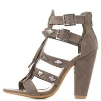 Bamboo Studded T-Strap Fringe Heels by Charlotte Russe