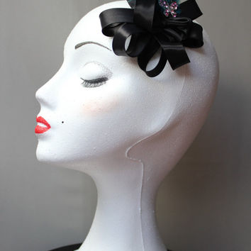 SALES- small headpiece, black headdress, feathers fascinator hat, wedding headpiece