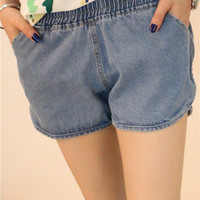 Elastic Waist Casual Denim Shorts