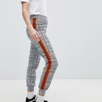Daisy Street Joggers With Contrast Sports Side Stripe In Check at asos.com