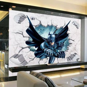 3D Batman Wall Sticker Kids Nursery Room Cartoon Decor Removable Art Vinyl Break Wall Decal