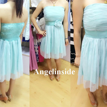 Amazing! Cheap Bridesmaid Dresses under 50, Aqua & Purple Bridesmaid Dress, Corset Bridesmaid Dress, Homecoming Dress Short, ai034