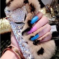 New Chic Luxury Furry Leopard Print Rabbit Fur Bling Sparky Fox Head Rhinestones Mobile Cell Phone Case Cover for iPhone Samsung - Casemoda | Pinkoi