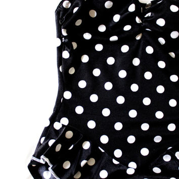 Vintage Polka Dot One Piece Swimsuit - Pin Up Girl Style Bathing Swimwear - Halter Neck Bathing Suit with Ruffles - Size XS to Small