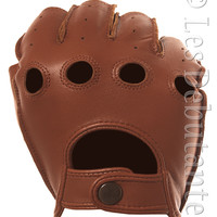 Brown Fingerless Leather Driving Gloves